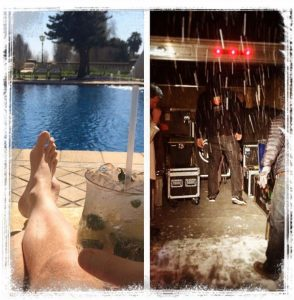 Roadies loading trucks in the rain and sitting by pool.